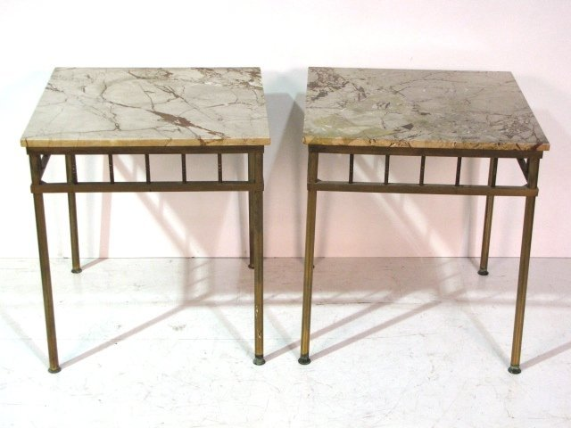 Pair BRASS & MARBLE SIDE TABLES