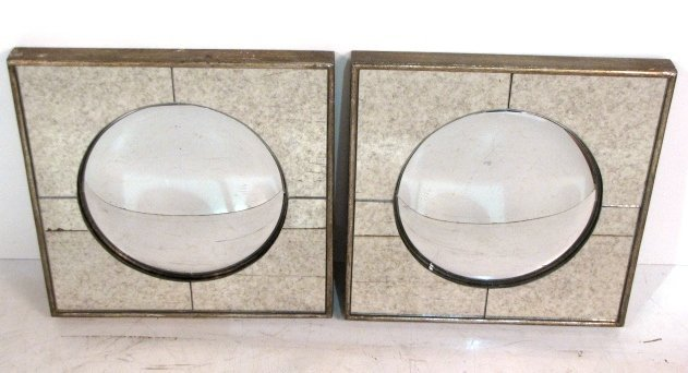 "Pair 15 3/4"" SQUARE CONVEX MIRRORS"