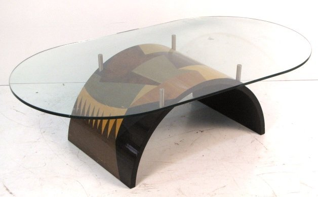 MODERN INLAID GLASSTOP COFFEE TABLE