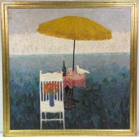 CARMEN D'AVINO 1961 OIL PAINTING BEACH SCENE