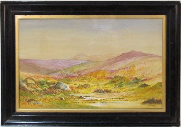 LANDSCAPE WATERCOLOR signed T. MORAN