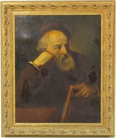 19th c. PORTRAIT PAINTING of a CLASSICAL SCHOLAR