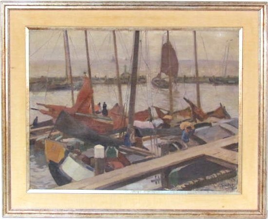 "WILLY SLUITER ""SLUIJTER"" HARBOR SCENE PAINTING"