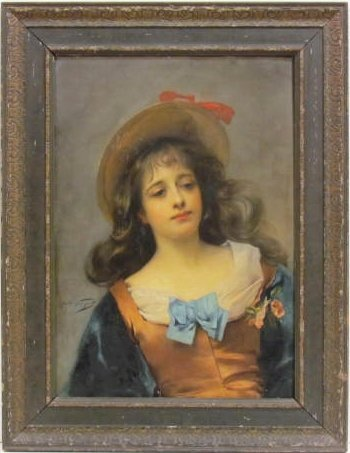 JULES GARIPUY OIL PAINTING of YOUNG ITALIAN GIRL