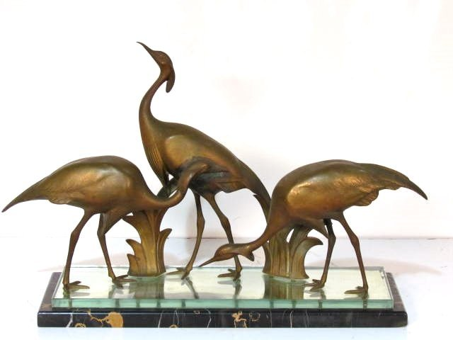 ARMAND SINKO FRENCH ART DECO BRONZE STORKS