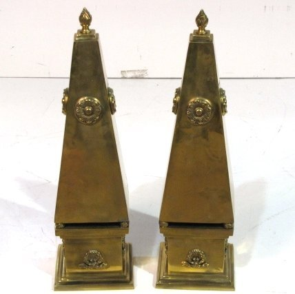 "Pair 21"" NEOCLASSICAL STYLE BRONZE OBELISKS"