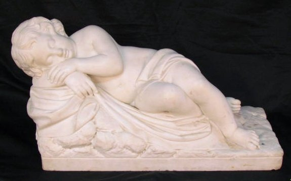 "ANTIQUE ITALIAN MARBLE SCULPTURE ""CUPID SLEEPING"""
