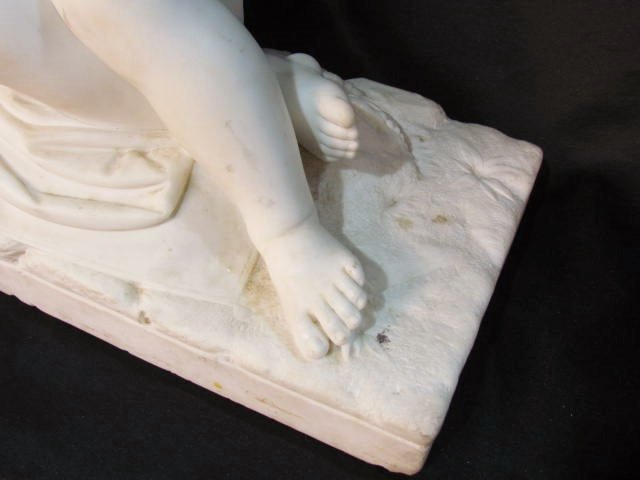 "ANTIQUE ITALIAN MARBLE SCULPTURE ""CUPID SLEEPING"" - 3"