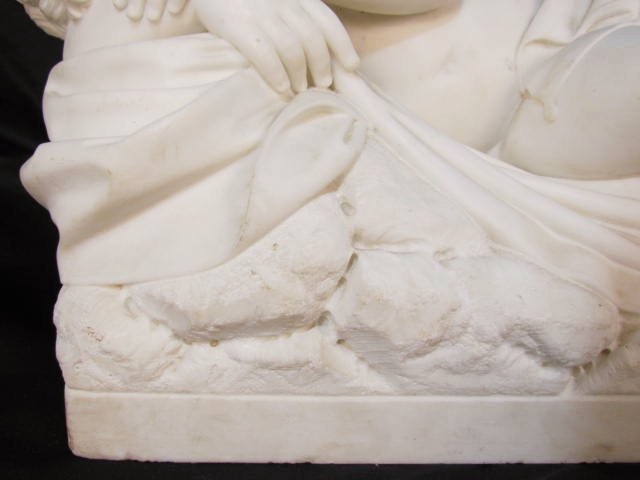 "ANTIQUE ITALIAN MARBLE SCULPTURE ""CUPID SLEEPING"" - 4"