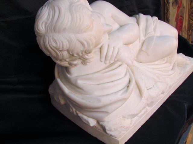 "ANTIQUE ITALIAN MARBLE SCULPTURE ""CUPID SLEEPING"" - 5"