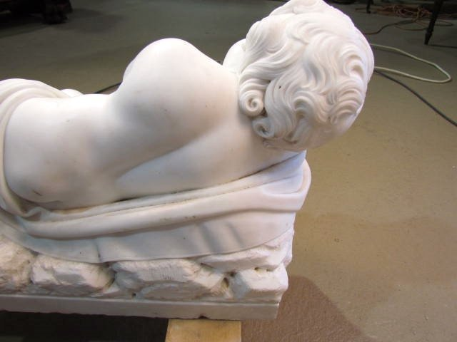 "ANTIQUE ITALIAN MARBLE SCULPTURE ""CUPID SLEEPING"" - 7"