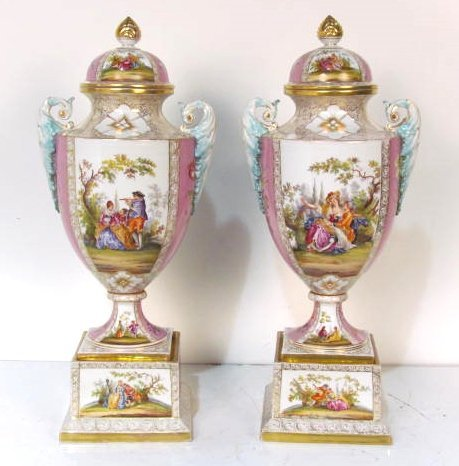 "Pair 21"" GERMAN DRESDEN COVERED URNS"