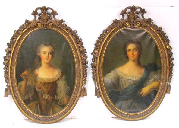 Pair 19th c. PORTRAIT PAINTINGS of YOUNG LADIES