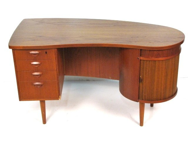 DANISH MODERN TEAK TAMBOUR DOOR DESK