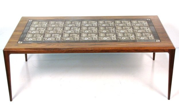 JOHANNES ANDERSEN ROSEWOOD TILE TOP COFFEE TABLE