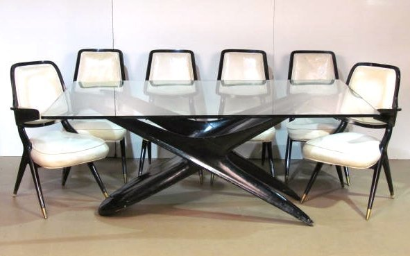 ITALIAN MODERN EBONIZED TABLE & 6 CHAIRS