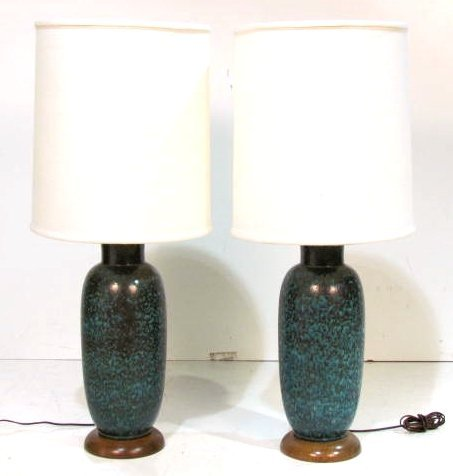 Pair MODERN GREEN CERAMIC TABLE LAMPS