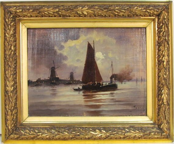 DUTCH MARINE PAINTING w/ SAILBOAT