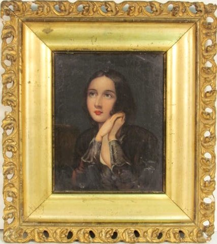 19th c. PORTRAIT PAINTING of a YOUNG GIRL