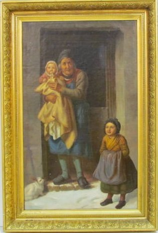 19th c. DUTCH OIL PAINTING GENRE SCENE