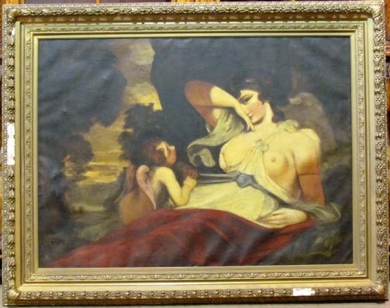 19th c. OIL PAINTING of a FEMALE NUDE & CHERUB