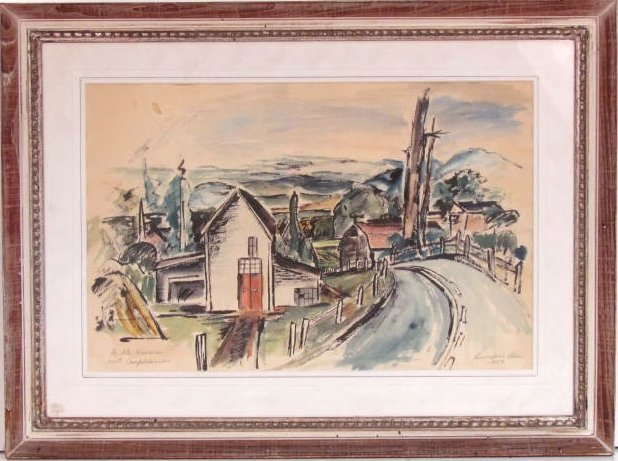 BUMPEI USUI WATERCOLOR of a VILLAGE