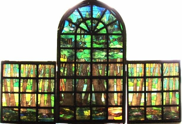7 1/2 ft. LEADED GLASS WINDOW attributed LOUIS TIFFANY
