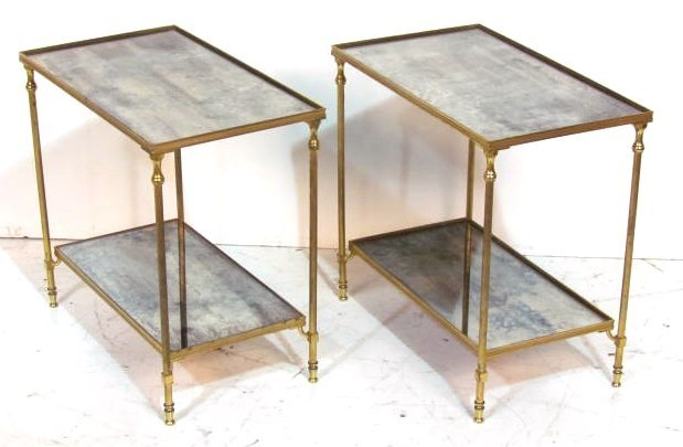 Pair DIRECTOIRE STYLE BRASS MIRRORED END TABLES