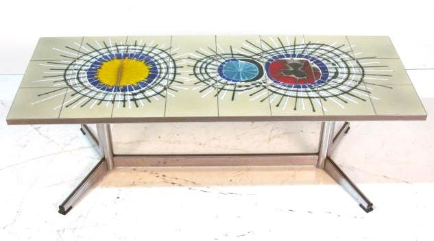 MODERN CHROME TILE TOP COFFEE TABLE
