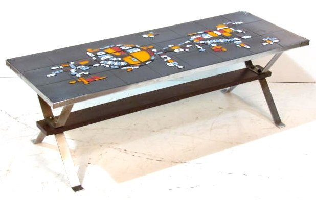 MODERN TILE TOP CHROME COFFEE TABLE