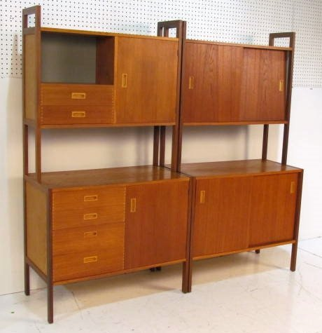 DANISH 2 pc. TEAK WALL UNIT
