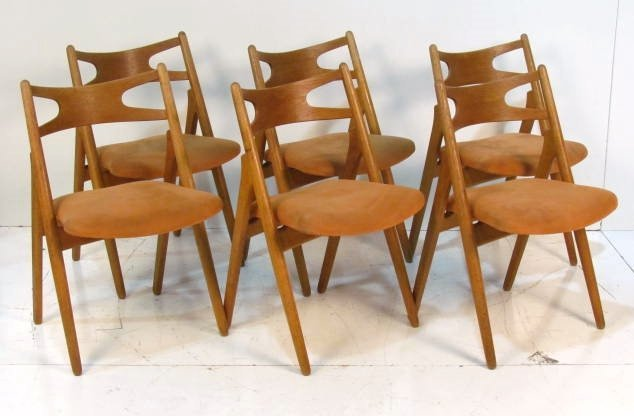 6 HANS WEGNER OAK SAWBUCK CHAIRS