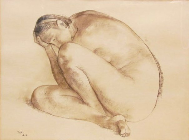 "FRANCISCO ZUNIGA DRAWING ""DESNUDO RESPOSANDO"""
