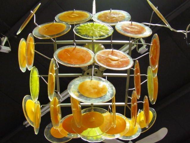 VISTOSI ORANGE & YELLOW MURANO GLASS DISK CHANDELIER - 2