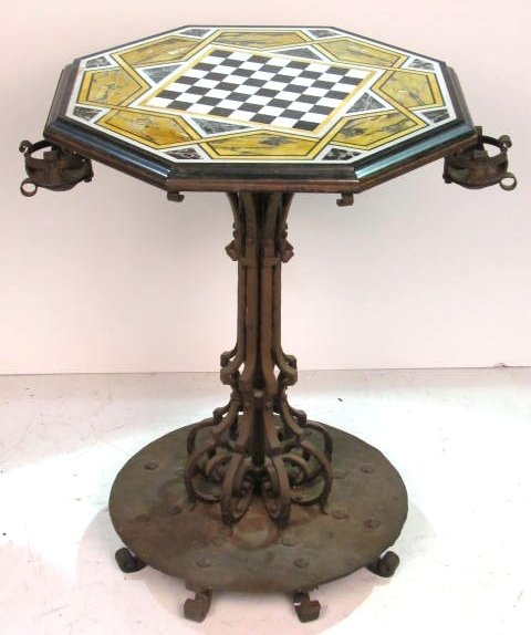 19th c. WROUGHT IRON TABLE w/ INLAID MARBLE TOP
