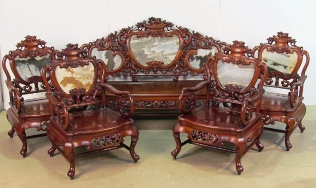 5 pc. CHINESE TEAKWOOD & MARBLE SEATING GROUP