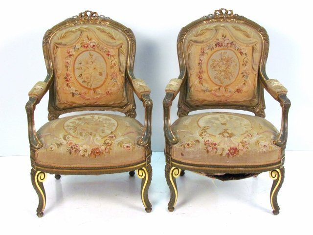 Pair 19th c. FRENCH GILT CARVED AUBUSSON FAUTEUILS
