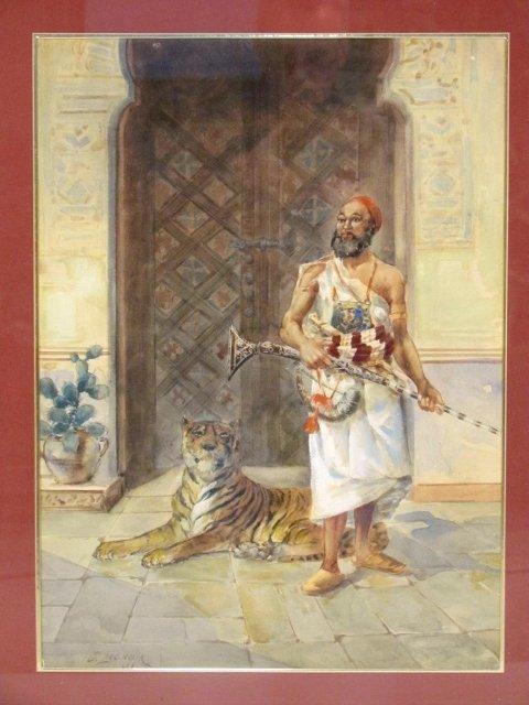 GASPARD-JEAN LACROIX WATERCOLOR of PERSIAN & TIGER