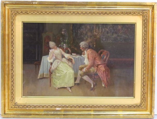 CHARLES LOUIS LUCIEN MULLER PAINTING of a COURTING