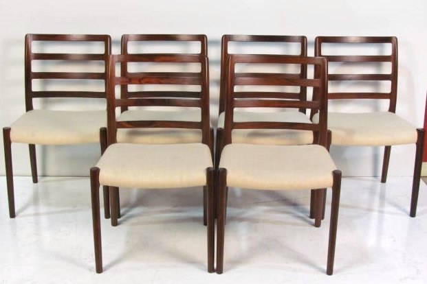 6 J.L. MOLLER ROSEWOOD DINING CHAIRS
