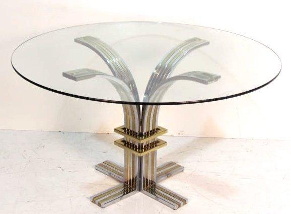 ITALIAN PAUL EVANS STYLE GLASSTOP DINING TABLE