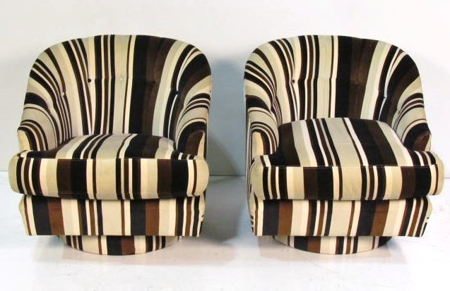 Exceptional Pair MILO BAUGHMAN STYLE SWIVEL TUB CHAIRS