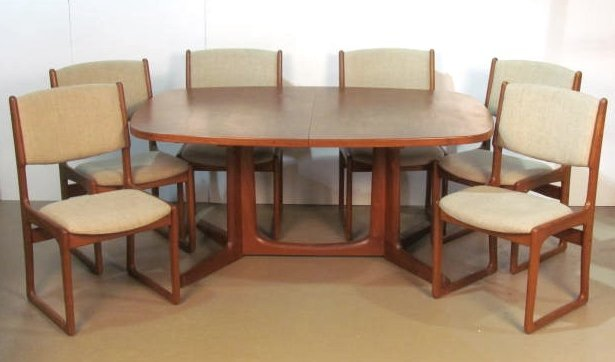 LINDEN DESIGN TEAK DINING TABLE 6 CHAIRS