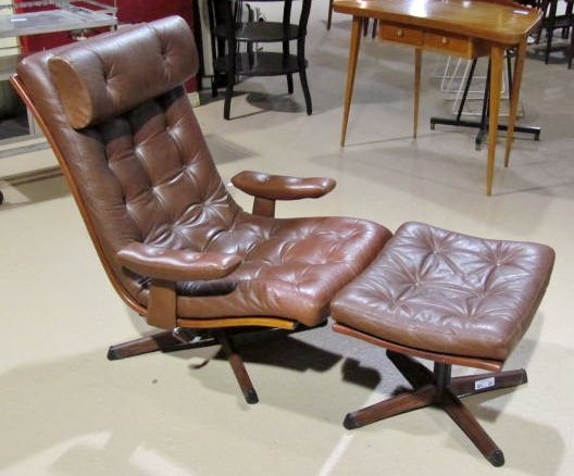 mobler sweden leather lounge chair ottoman