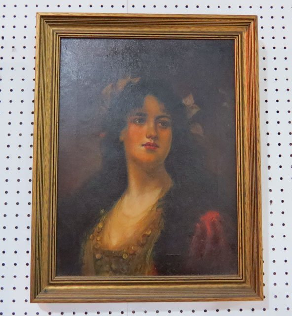 19th c. OIL PAINTING of a YOUNG GIRL