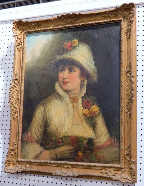 19th c. R. ROBERTS PORTRAIT PAINTING of a LADY