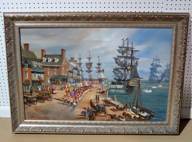 LLOYD GARRISON COLONIAL BOSTON HARBOR SCENE PAINTING