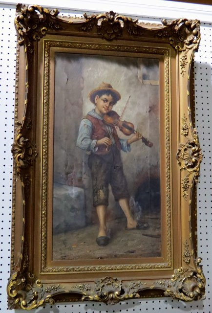 19th c. F. PRUDON PAINTING of a BOY w/ FIDDLE