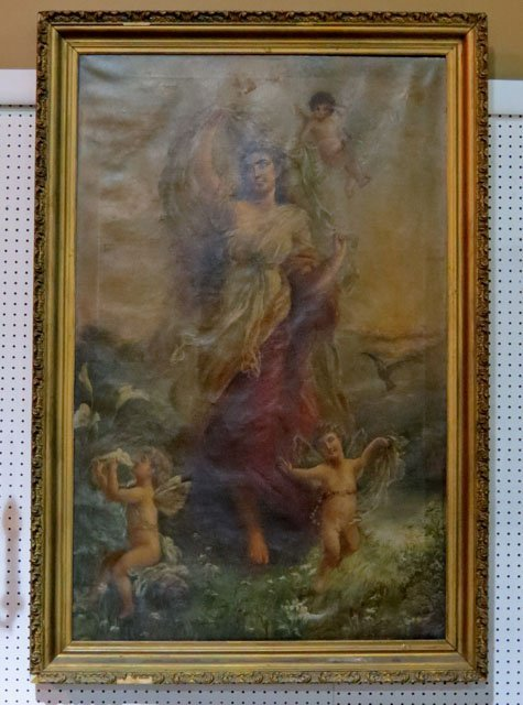 """61"""" X 41"""" 19th c. ALLEGORICAL PAINTING of WOMAN &"""