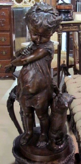 BRONZE STATUE of a YOUNG GIRL & CAT